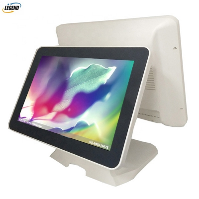 Hot selling 15 inch touch dual screen pos terminal pos system epos all in one (White color)